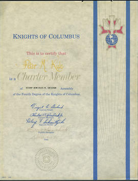 Knights of Columbus Charter Member certificate for Peter M. Kule
