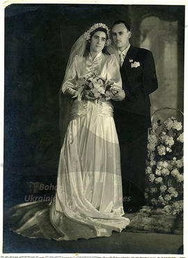 Wedding photo of Helena's son Petro and wife Olga