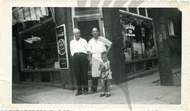 Nick Gaudun and little Teddy in front of their Red and White Store Grocery, Hamilton circa 1948