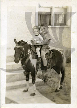 Steve and Ted on a pony, St. Catherines circa 1948