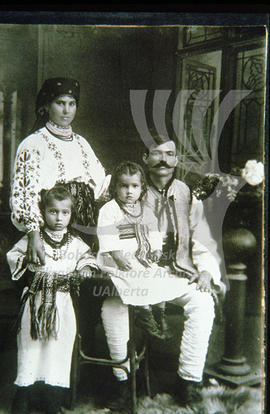 A family in traditional costumes.