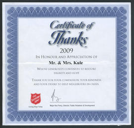 Certificate of Thanks to Mr. & Mrs. Kule from the Salvation Army