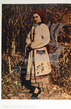 A woman in an embroidered coat (svyta). L'viv region.