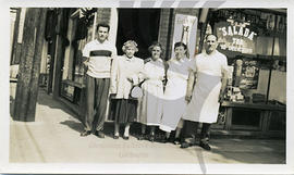 Nick and Stalla Gaudun by their business Red and White with Peter, Aunt Gladys, Mrs. Hrenchuk. Circa mid 50's