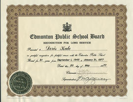 Edmonton Public School Board Recognition for Long Service presented to Doris Kule
