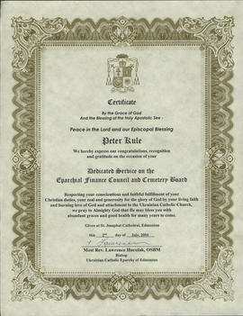 Certificate for Peter Kule for Dedicated Service on the Eparchial Finance and Cemetery Board