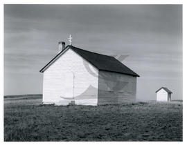 Ukrainian Orthodox Church and shed in Capon, AB