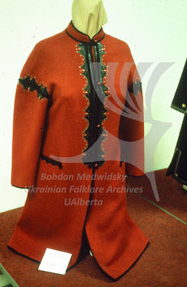 Modern women's coat with Ukrainian ethnic motifs