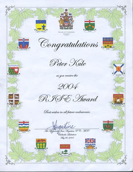 Congratulations to Peter Kule as he receives the 2004 RJSE Award