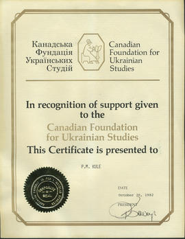 Recognition of support given to the Canadian Foundation for Ukrainian Studies