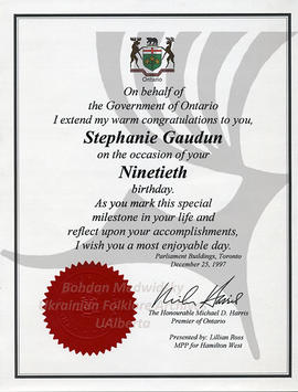 Stephanie Gaudun's 90's birthday congratulation