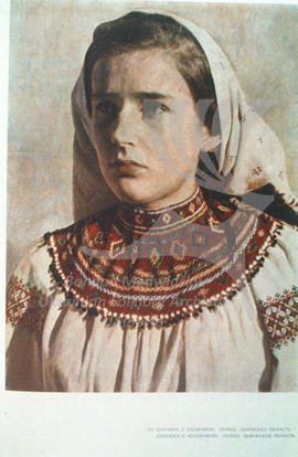 A girl wearing sylianka (necklace). Lemkos. L'viv region.