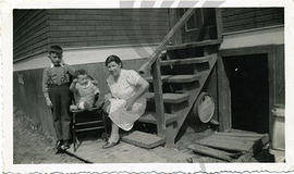 Stalla Gaudun with sons Steve and Peter in Ansonville ON, circa 1942